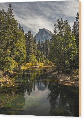 Bridge View Half Dome Wood Print by Peter Tellone