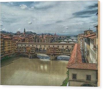 Bridges Of Florence Wood Print by C H Apperson
