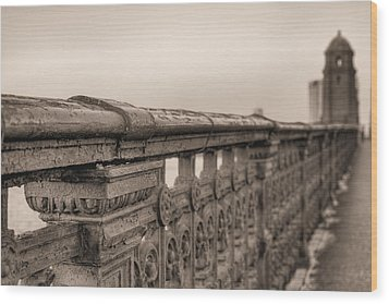 Bridging The Charles Bw Wood Print by JC Findley