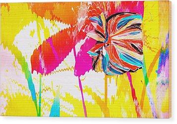Bright Floral  Collage Wood Print by Anne-Elizabeth Whiteway