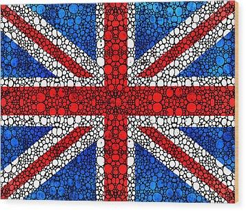 British Flag - Britain England Stone Rock'd Art Wood Print by Sharon Cummings