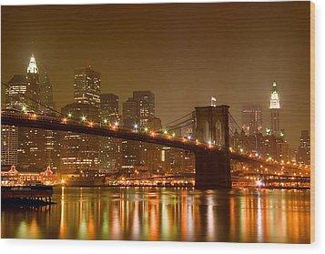 Brooklyn Bridge And Downtown Manhattan Wood Print by Val Black Russian Tourchin