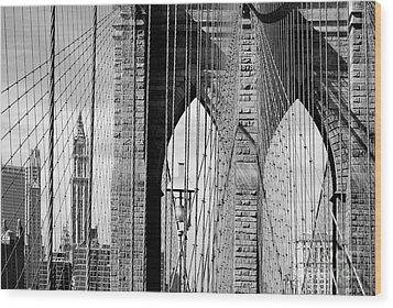 Brooklyn Bridge New York City Usa Wood Print by Sabine Jacobs