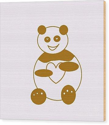 Brown Panda Wood Print by Ausra Huntington nee Paulauskaite