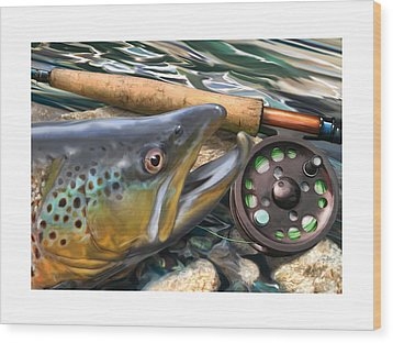 Brown Trout Sunset Wood Print by Craig Tinder