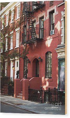 Brownstone Wood Print by John Rizzuto