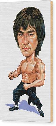 Bruce Lee Wood Print by Art