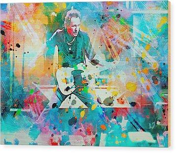 Bruce Springsteen  Wood Print by Rosalina Atanasova