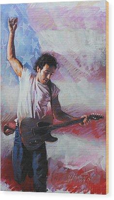 Bruce Springsteen The Boss Wood Print by Viola El
