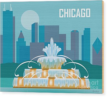 Buckingham Fountain Chicago Wood Print by Karen Young