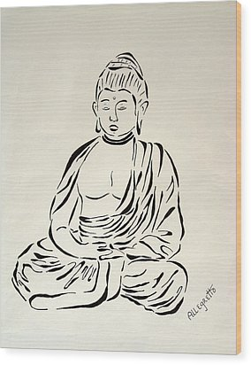 Buddha In Black And White Wood Print by Pamela Allegretto