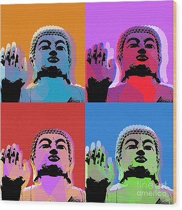 Buddha Pop Art - 4 Panels Wood Print by Jean luc Comperat
