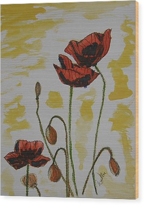 Budding Poppies Wood Print by Marcia Weller-Wenbert