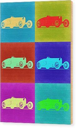 Bugatti Type 35 R Pop Art 2 Wood Print by Naxart Studio