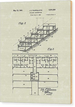Building Construction 1941 Patent Art Wood Print by Prior Art Design