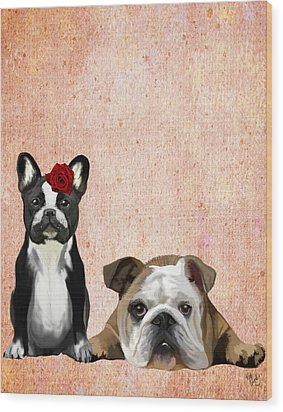 Bulldogs French And English Wood Print by Kelly McLaughlan