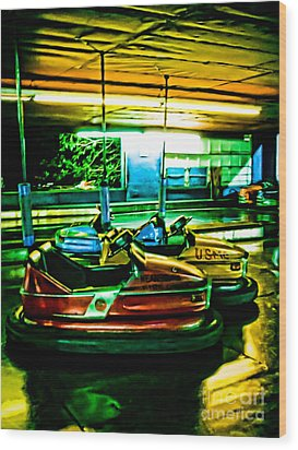 Bumper Cars Wood Print by Colleen Kammerer