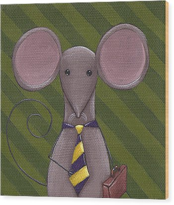 Business Mouse Wood Print by Christy Beckwith