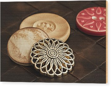 Button Still Life Wood Print by Tom Mc Nemar