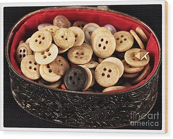 Button Treasures Wood Print by John Rizzuto