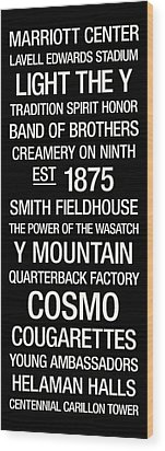 Byu College Town Wall Art Wood Print by Replay Photos