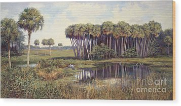 Cabbage Palms Wood Print by Laurie Hein