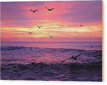 Cabo San Lucas Sunrise Wood Print by Marcia Colelli