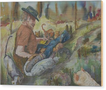 Caboodle Ranch Cats Wood Print by Barbara McGeachen