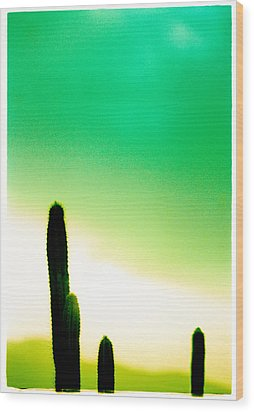Cactus In The Morning Wood Print by Yo Pedro