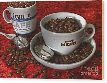 Cafe Nero Wood Print by Tracy  Hall