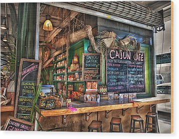 Cajun Cafe Wood Print by Brenda Bryant