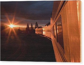 California Zephyr Sunset Wood Print by Ryan Wilkerson