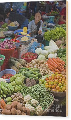 Cambodian Vegetable Market Wood Print by Craig Lovell