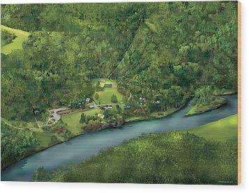 Camp Cheerio Adventure Camp Wood Print by Rhett and Sherry  Erb