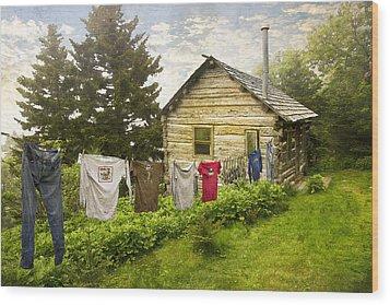 Camp Leconte Wood Print by Debra and Dave Vanderlaan