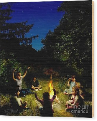 Campfire Story Wood Print by Tom Straub