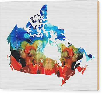 Canada - Canadian Map By Sharon Cummings Wood Print by Sharon Cummings