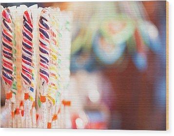 Candy Sticks At German Christmas Market Wood Print by Susan Schmitz