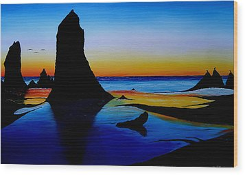 Cannon Beach At Sunset 15 Wood Print by Portland Art Creations