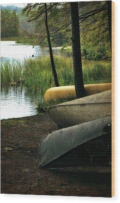 Canoe Trio Wood Print by Michelle Calkins