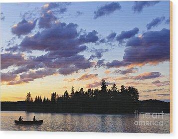 Canoeing At Sunset Wood Print by Elena Elisseeva