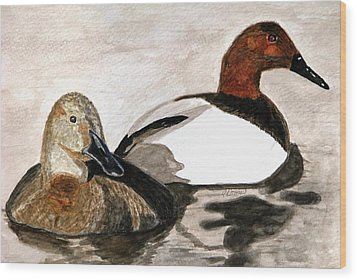 Canvasback Couple Wood Print by Angela Davies