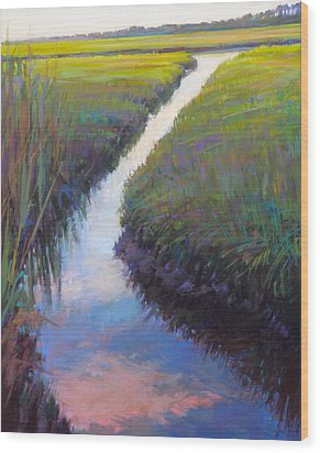 Cape Marsh Wood Print by Ed Chesnovitch