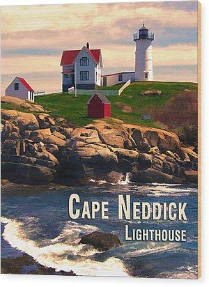 Cape Neddick Lighthouse  At Sunset  Wood Print by Elaine Plesser