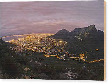 Cape Town Nights Wood Print by Aaron S Bedell