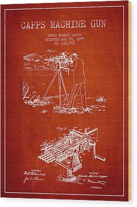 Capps Machine Gun Patent Drawing From 1899 - Red Wood Print by Aged Pixel