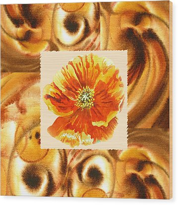 Cappuccino Abstract Collage Poppy Wood Print by Irina Sztukowski
