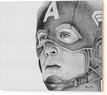 Captain America Wood Print by Kayleigh Semeniuk