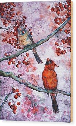 Cardinals  Wood Print by Zaira Dzhaubaeva