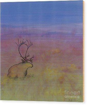 Caribou On The Tundra Wood Print by Carolyn Doe